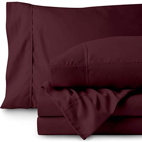 Bare Home Queen Sheet Set - 1800 Ultra-Soft Microfiber Bed Sheets - Double Brushed Breathable Bedding - Hypoallergenic - Wrinkle Resistant - Deep Pocket (Queen, Burgundy) (Queen Sheets Burgundy)