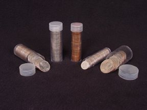 - COIN STORAGE TUBES, round clear plastic w/ screw on tops for QUARTERS (Quantity of 10 tubes)
