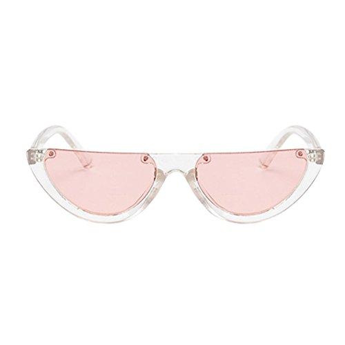 VIASA Female Fashion Frame Cat Eyes Shades Sunglasses Integrated UV Glasses Half moon Sunglasses Women Sunglasses Cool Glasses (Clear framed Pale Cerise - Fashion For Cheap Sunglasses Women