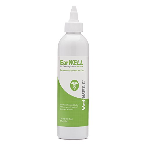 Cats Ear Mites Dogs (VetWELL Ear Cleaner for Dogs and Cats - Otic Rinse for Infections and Controlling Yeast, Mites and Odor in Pets - 8 oz (Cucumber Melon))