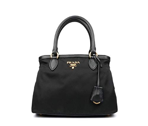 Prada Women's Black Tessuto Nylon Soft Calf Handbag 1BA173 - Tessuto Black Bag