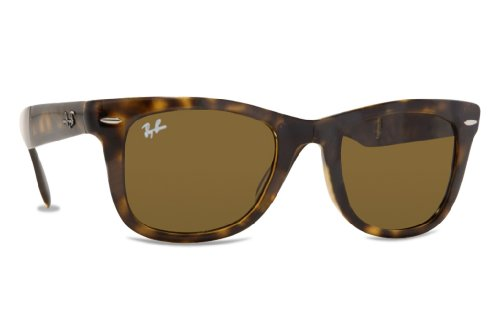 Ray-Ban Folding Wayfarer Sunglasses (RB4105) Tortoise/Green Plastic,Nylon - Non-Polarized - - Rb4105 Wayfarer Folding Polarized 50