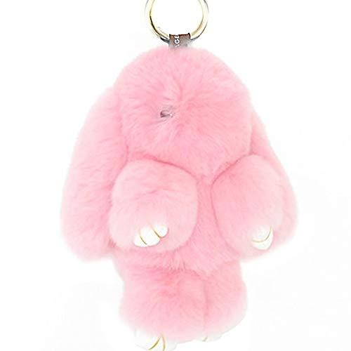 Pink Fluffy Bunnies (Prince2018 Bunny Keychain Soft Cute Rex Genuine Rabbit Fur Keychain Car Handbag Keyring (Pink))