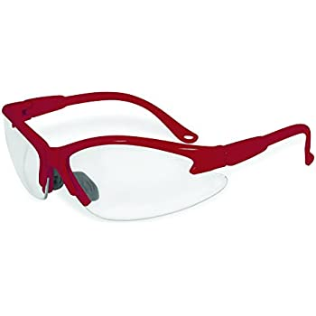 SSP Eyewear Safety Glasses with Red Frames & Clear Anti-Fog ...