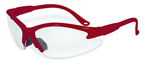 SSP Eyewear Safety Glasses with Red Frames & Clear Anti-Fog Shatterproof Lenses, COLUMBIA RED CL A/F
