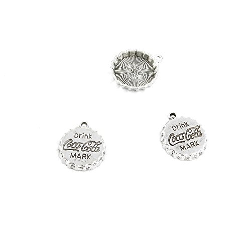 15 Pieces Jewelry Making Charms Retro Silver Tone for Necklace Pendant Bracelet Findings Vintage Bijoux Breloques Bulk 60037 Coca Cola Drink Cap