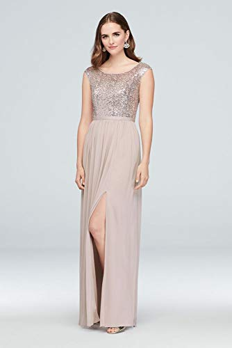 David's Bridal Sleeveless Sequin and Mesh Bridesmaid for sale  Delivered anywhere in USA
