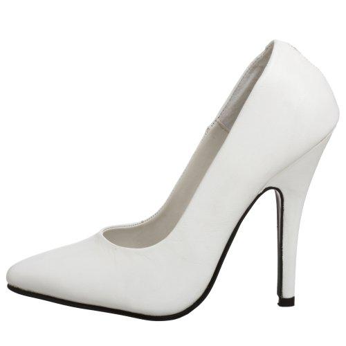 Tacón Para leder Blanco Weiß Mujer Pleaser 420 Seduce Zapatos De gnqFIRwOx