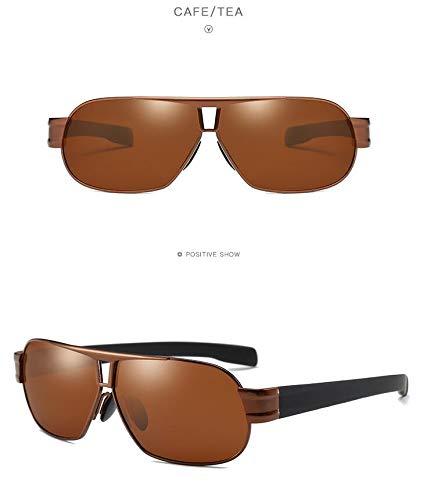 Men Polarized Sunglasses Aluminum Sunglasses Sunglasses face-Lift Couple Lover Fishing yurt Driving Mirror Full Frame Sunglasses Star Style Sunglasses (Black Tea Box Tea Tablets ()