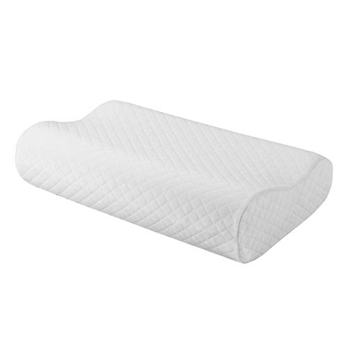 uxcell Contoured Memory Foam Pillow Sleep Pillow for Neck Pain Bed Pillow for Back Side Stomach Sleepers with Washable Cover Standard Size (50 x 30 x 10/7 cm)