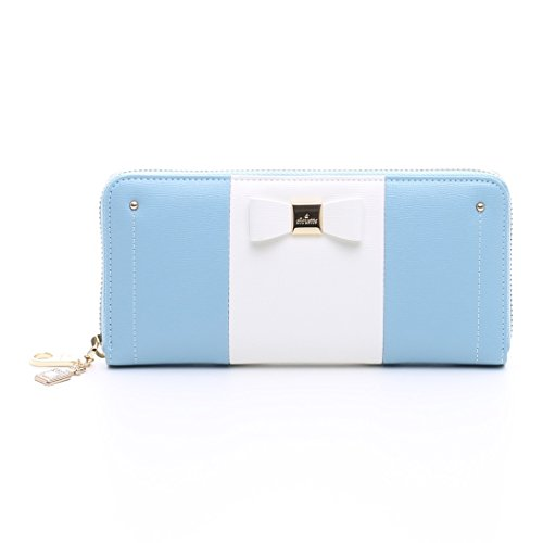 &Chouette Fashion Lady Women Clutch Ribbon Long Wallet Card Holder Purse Samantha Thavasa japanese style (Blue)