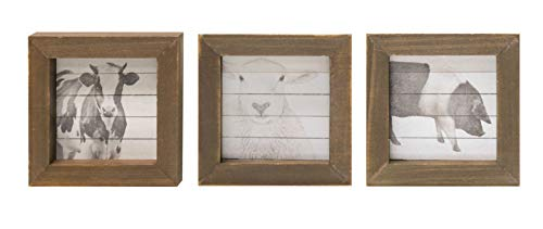 Craft House Designs Set of 3 Mini Farmhouse Wood Block Prints - Cow, Sheep, Pig