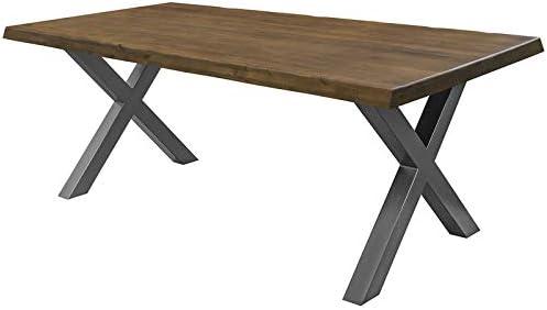 COMIFORT Mesa de Comedor - Mueble para Salon Oficina Despacho Robusto y Moderno de Roble Macizo Color Nogal con Lado Ondulado, Patas de Acero X-Forma Grafito (200x100 cm): Amazon.es: Hogar