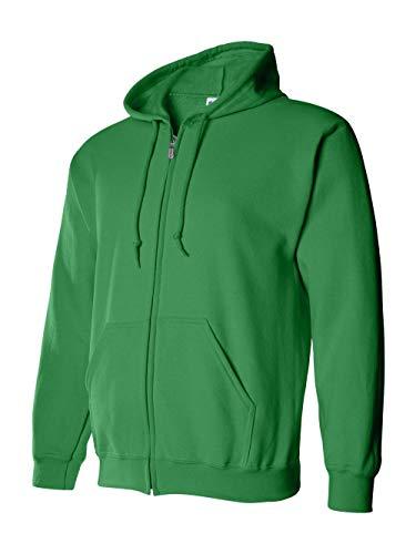 �Gildan Adult Heavy Blend� Full-Zip Hooded Sweatshirt (Irish Green) (Large) ()