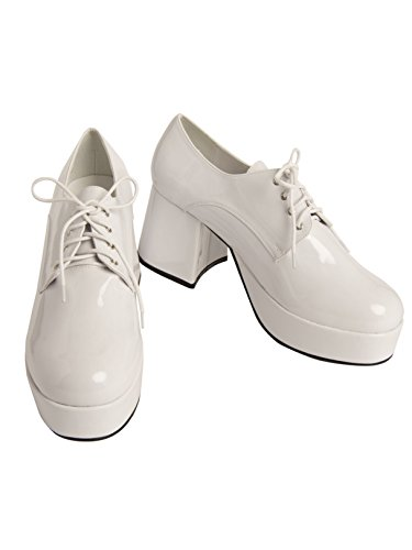 Pimp Adult Costume Shoes White - Medium (Pimp Costume White)