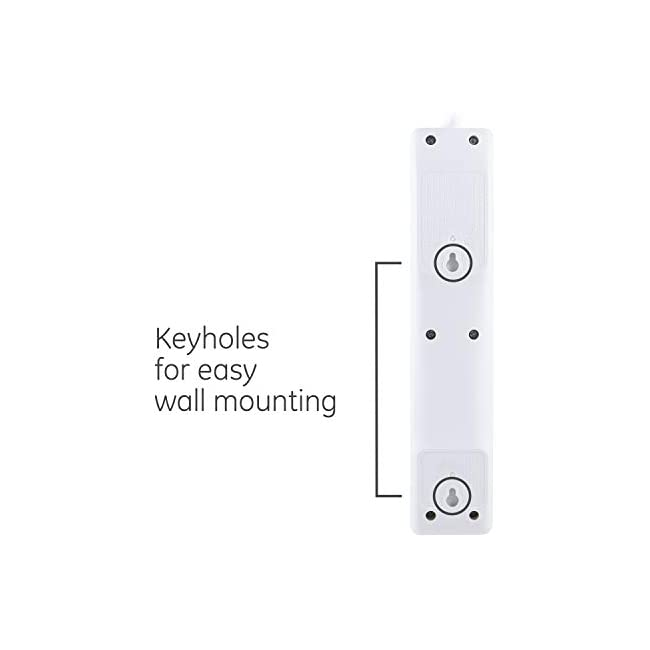 GE 6 Outlet Surge Protector  10 Ft Extension Cord  Power Strip  800 Joules  Flat Plug  Twist-to-Close Safety Covers  White  14092
