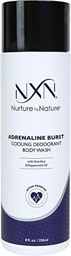 NxN Adrenaline Burst Cooling Deodorant Post Workout Body Wash Natural & Organic Formula with Peppermint Oil & Aloe Vera, 8 Fl Oz (Deodorant Peppermint)