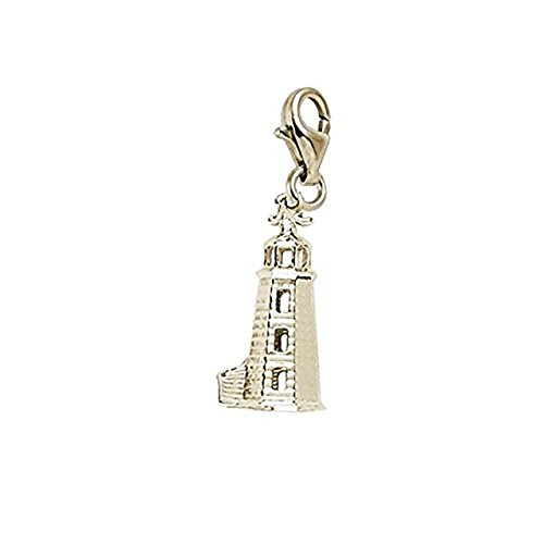 14k Yellow Gold Lighthouse - 14K Yellow Gold Lighthouse Charm With Lobster Claw Clasp, Charms for Bracelets and Necklaces