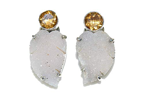 AMY KAHN RUSSELL Citrine and Brazilian Drusy Agate Leaf Sterling Silver Earrings