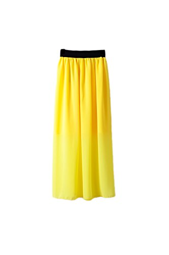 in Yellow Gonna donne turno Chiffon lungo Yacun 4qZwdB