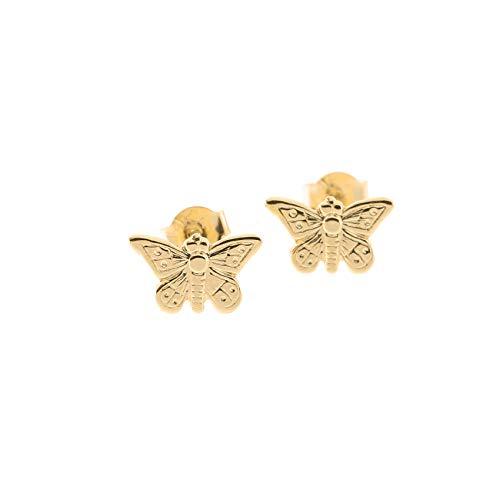 14k Yellow Gold Tiny Butterfly Stud Earrings ()