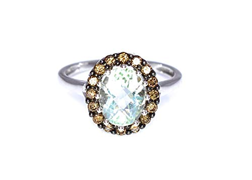 64846dbf2 LeVian Green Amethyst Quartz Chocolate Diamonds Cocktail Halo Ring 14k  White Gold from LE VIAN