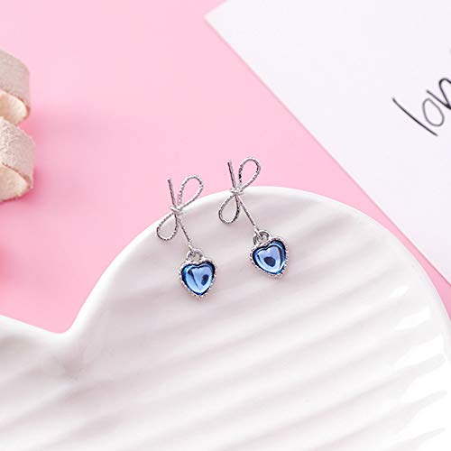 (Nitlovely New Korean Tiny Cute Bow Rhinestone Love Heart Drop Earrings for Women Sweet Fashion Girls Ear Jewelry Pendientes Gift EC591)