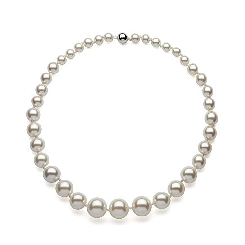 Stunning Graduated Shell Pearl Necklace & Sterling Silver Magnetic Clasp- 925 (White)