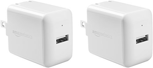 AmazonBasics One-Port USB Wall Charger for Phone, iPad, and Tablet, 2.4 Amp, White, 2 Pack (Best Ipad 2 Charger)