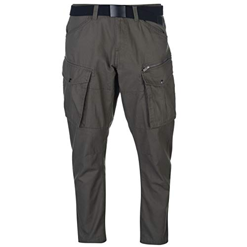 No Fear Mens Belted Cargo Pants Chino Chinos Trousers Khaki 34W R (No Fear Combat Pants)