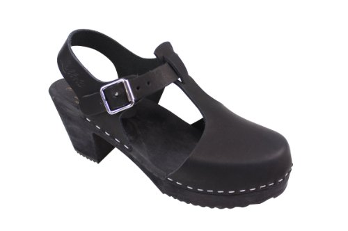 Lotta From Stockholm Women's Highwood T-Bar Black Ankle-High Leather Clogs - 7.5M -