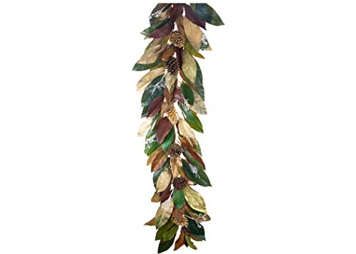 EST. LEE DISPLAY L D 1902 4FT Real Magnolia Garland w/Glitter Highlights, Acorns, and Gold Dipped Leaves Christmas Garland Holiday Home Decor Wire Stem 4' ()