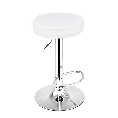 Costway Adjustable Swivel Counter Height Bar Stool Chair with Round Leather Seat Chrome Leg Hydraulic, Set of 1 (White)