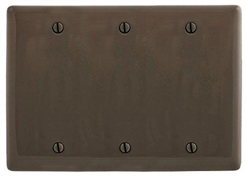 Bryant Electric NP33 Nylon Standard Size 3-Gang 3-Blank Box Mount Wallplate, Brown ()