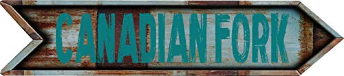 """Any and All Graphics Canadian Fork 8"""" Arrow Shaped Rustic Antique Vintage City Name Vinyl Decal Sticker"""