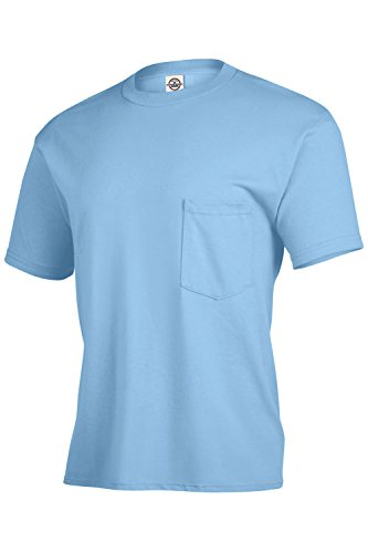 Delta Adult Heavyweight T Shirts For Men Short Sleeve Tee With Pocket 2 Pack (Small, Sky (Blue Sky Heavyweight T-shirt)