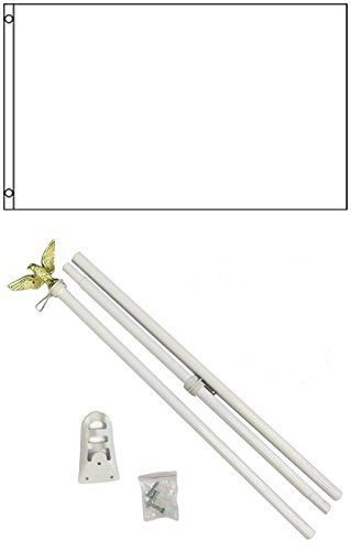 ALBATROS 3 ft x 5 ft Advertising Solid White Flag White with Pole Kit Set for Home and Parades, Official Party, All Weather Indoors Outdoors