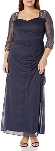 Alex Evenings Women's Plus Size Long Sleeve Sweetheart Neckline Dress