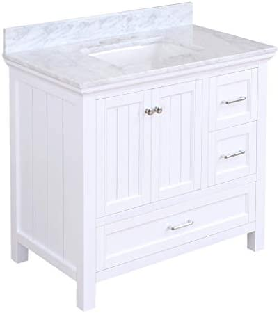 Paige 36-inch Bathroom Vanity Carrara/White : Includes White Cabinet