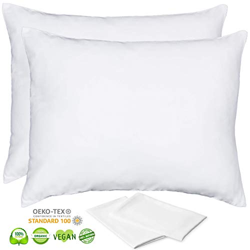 Organic Bamboo Pillow Cases Lyocell - Set of 2 Zippered Pillowcase, White, Queen 20x30 Inches, Ultra Soft Cooling Pillow, Stay Cool Pillow, Eco Friendly Acne Pillowcase Like Silk Pillowcase for Hair