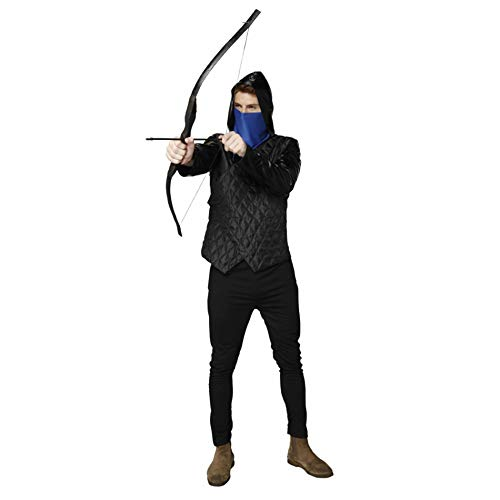 Robin Hood Men Costume Set,Jacket with Hooded + Scarf + Wooden Bow and 3 Arrows for Halloween Dress Up Party]()