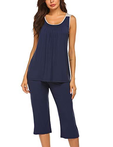 Ekouaer Cotton Capri Sets Women Sleepwear Sleeveless Womans Pajamas PJS Blue L