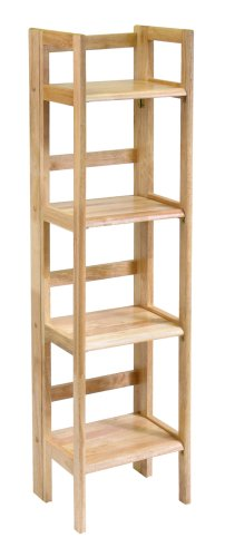 Winsome Wood Folding 4-Tier Shelf, Natural - smallkitchenideas.us