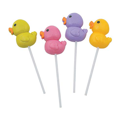 Duck Candy - Fun Express - Rubber Ducky Frosted Sucker for Birthday - Edibles - Sucker & Pop - Suckers & Lollipops - Birthday - 12 Pieces