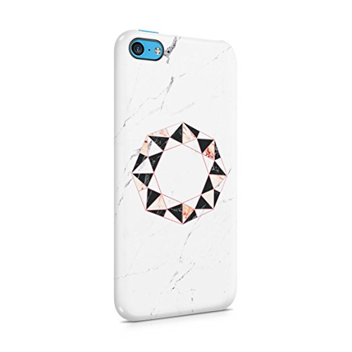 Onyx & Rose Quartz Octagon On White Marble Stone Hard Plastic Phone Case For iPhone 5c