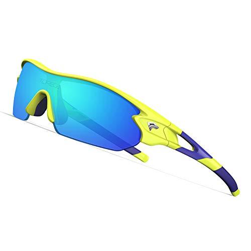 TOREGE Tr90 Flexible Kids Sports Sunglasses Polarized Glasses for Junior Boys Girls Age 3-10 TR04 (Yellow&Blue&Blue ()