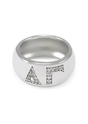 The Collegiate Standard Delta Gamma Sterling Silver Ring with Pave Cubic Zirconia Greek Letters (7.0) ()