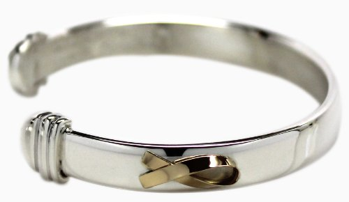 Sterling Silver with Gold Classic Cuff Bracelet Medium by Until There's A Cure
