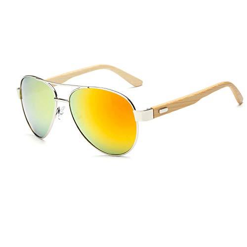 sunglasses Natural bamboo legs men's glasses Women's metal glasses,Silver frame white mercury ()