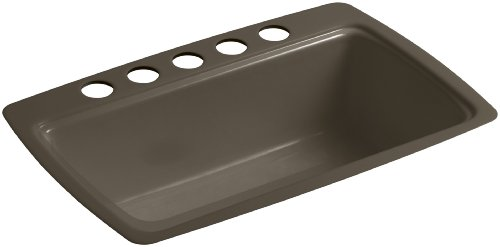 (KOHLER K-5864-5U-20 Cape Dory Undermount Single-Bowl Kitchen Sink with 5 Oversized Faucet Holes, Suede)